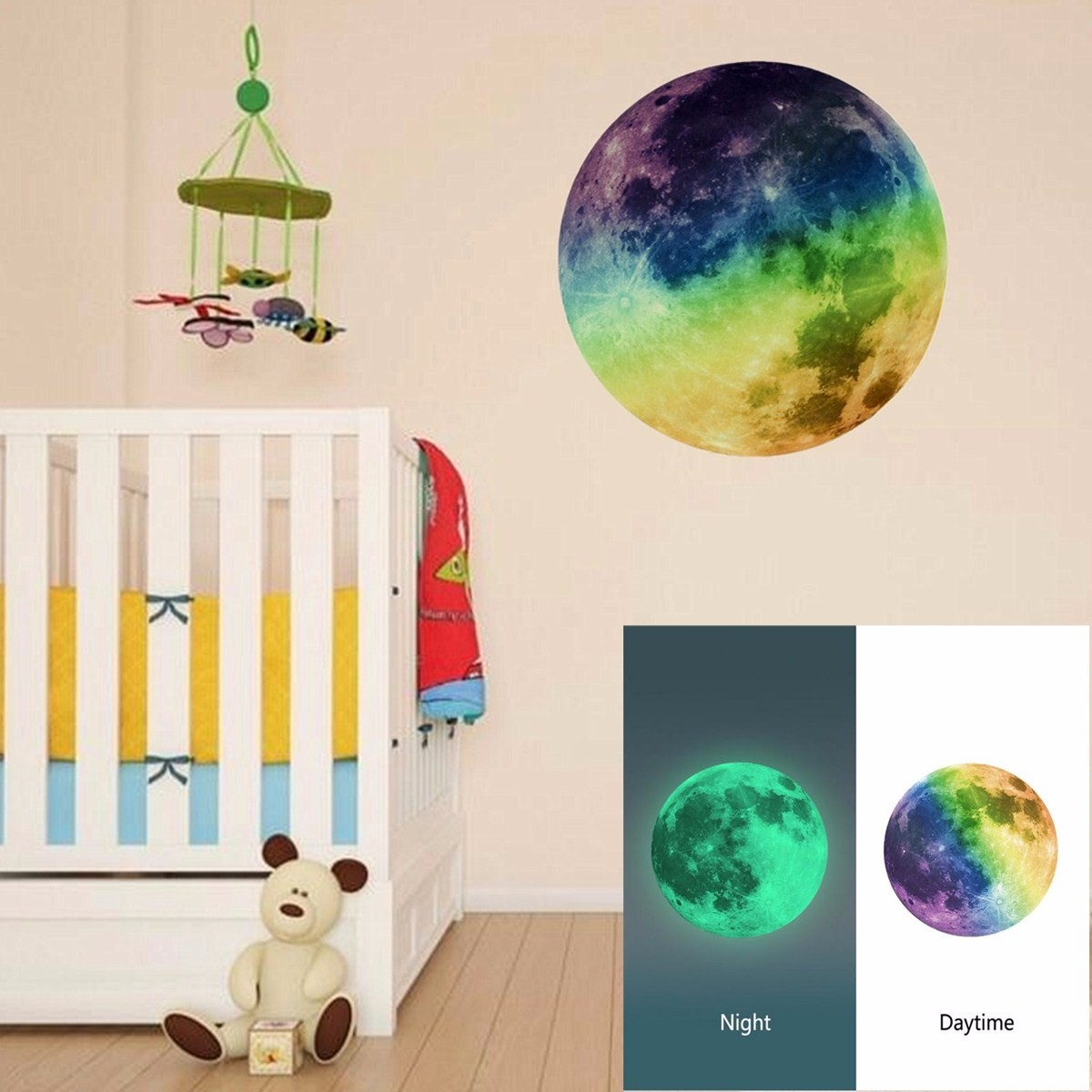 30cm PVC Moon Wall Sticker Glow in the Dark Moonlight Luminous Home Living Room Art Decor DIY Room Decal
