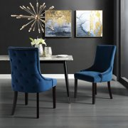 Karalynn Navy Velvet Dining Chairs, Pack of 2, Button Tufted, Armless, Chrome Nailhead Trim
