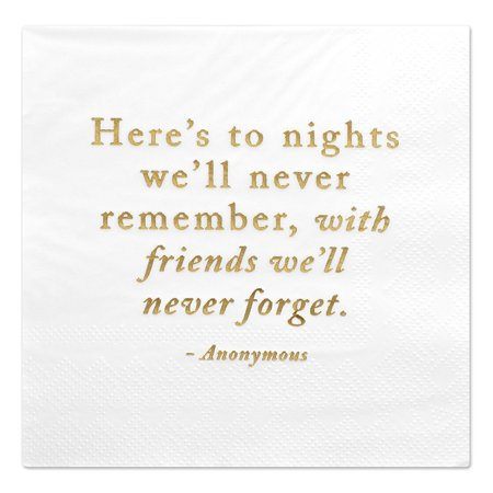 Napkins In Bulk (Andaz Press Here's to Nights, Funny Quotes Cocktail Napkins, Gold Foil, Bulk)