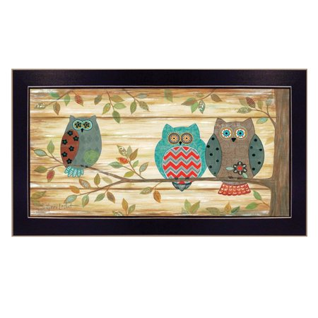 """Three Wise Owls"" By Annie LaPoint, Printed Wall Art, Ready To Hang Framed Poster, Black Frame - image 1 of 1"