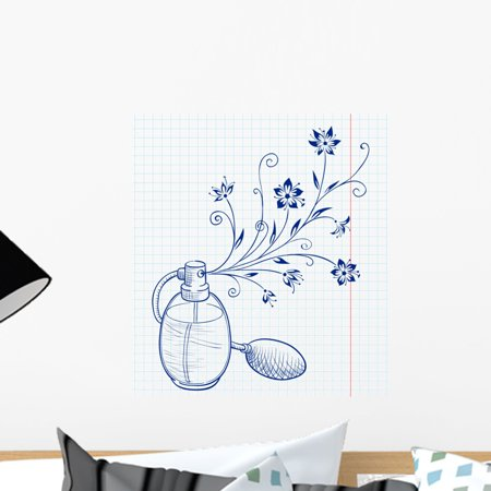 Bottle Perfume with Floral Wall Mural by Wallmonkeys Peel and Stick Graphic (18 in H x 16 in W) WM196363 ()
