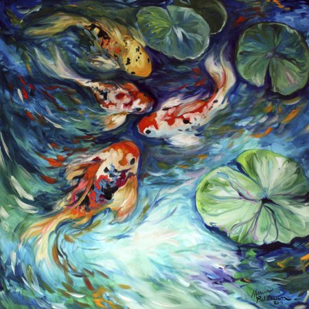 Dancing Colors Koi Asian Animal Art Print Wall Art By Marcia Baldwin ()