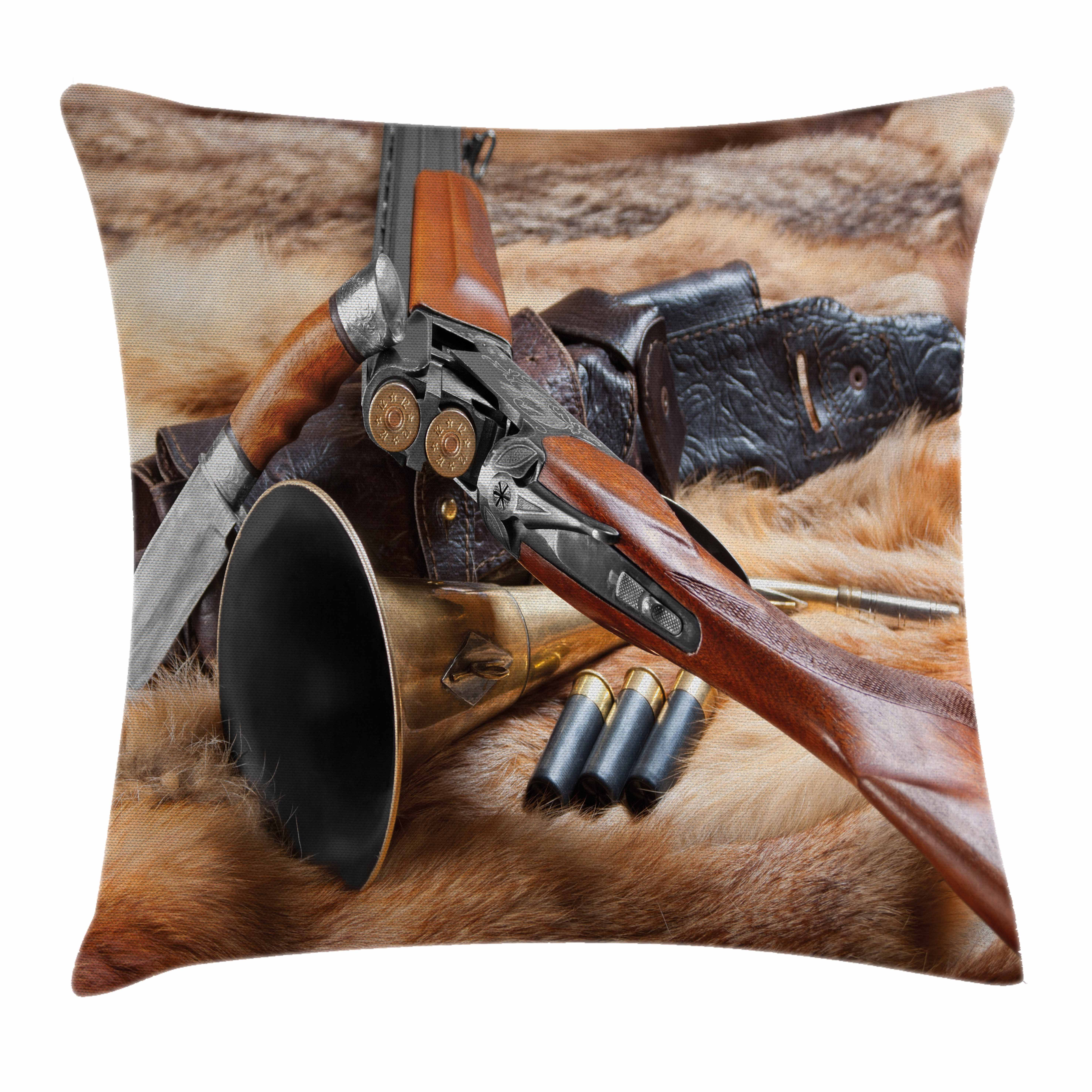 Hunting Decor Throw Pillow Cushion Cover, Hunting Materials on Fur Rifle Ammunition Cartridge Knife Sheath, Decorative Square Accent Pillow Case, 20 X 20 Inches, Brown Light Brown Black, by Ambesonne