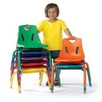 """Berries Stacking Chairs with Powder-Coated Legs 14"""" Height Set of 6 Green"""