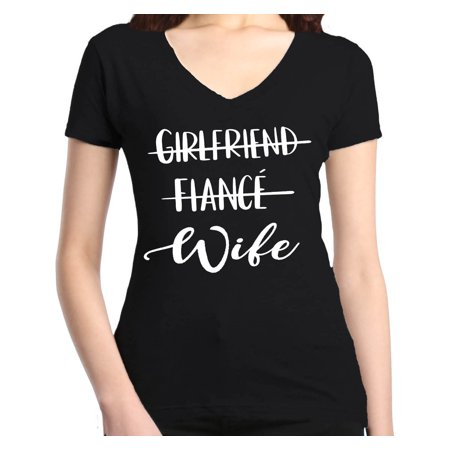 Shop4Ever Women's Girlfriend Fiance Wife Wedding Slim Fit V-Neck T-Shirt ()