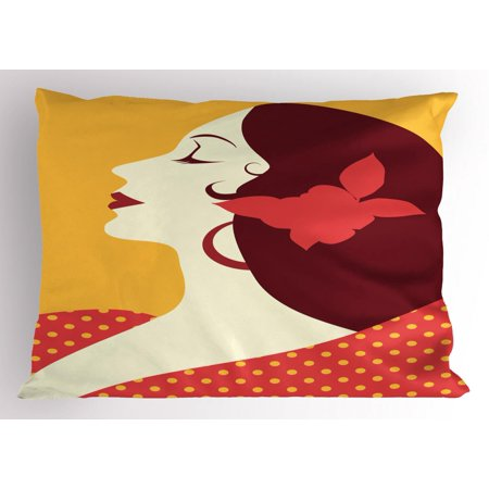- Spanish Pillow Sham, Flamenco Woman in Retro Polka Dot Dress with Flower in Her Hair Rhythm Dancer, Decorative Standard Size Printed Pillowcase, 26 X 20 Inches, Earth Yellow Red, by Ambesonne