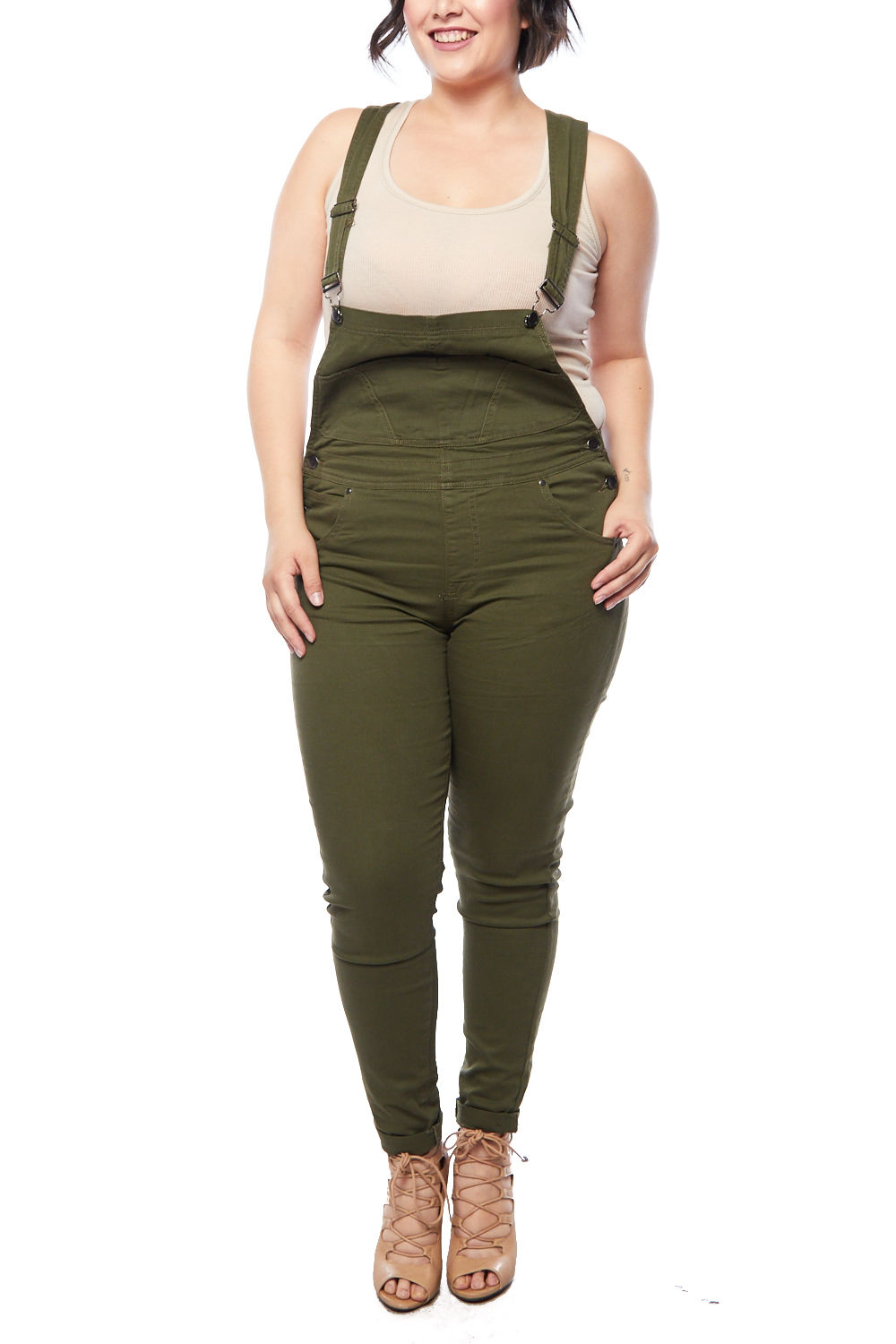 Womens Casual Ripped Destroyed Suspender Pants Overall (Juniors-Plus)