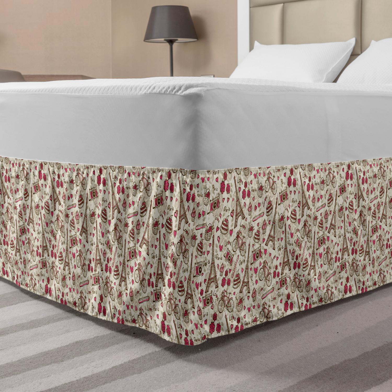 Paris Themed Bedding Walmart: Romantic Bed Skirt, Europe French Paris Themed Eiffel