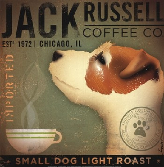 Jack Russell Coffee Co Poster Print by Stephen Fowler (12 x 13)