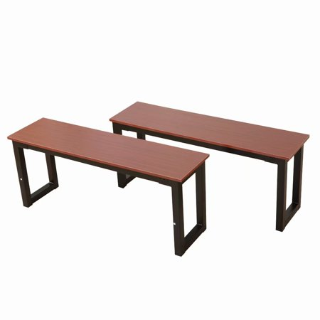 Clearance!2pcs Simplistic Iron Frame Dining Benches Teak Color