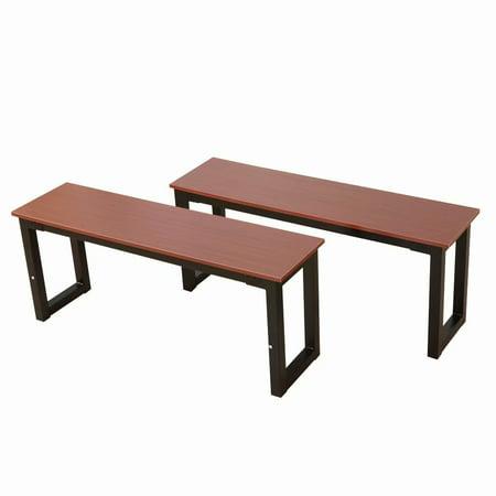 2pcs Simplistic Iron Frame Dining Benches Teak Color (Set Teak Bench)