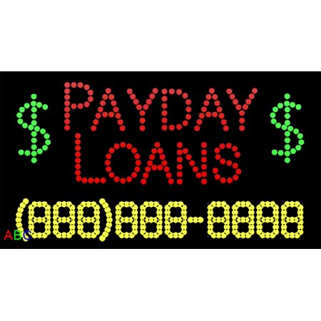 17 X31  Abc Led Signs Custom Animated Payday Loans Led Sign With Phone   W Flashing Controller