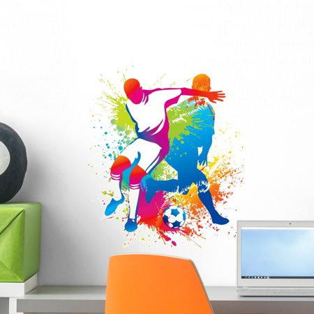 Soccer Players with Soccer Wall Decal by Wallmonkeys Peel and Stick Graphic (18 in H x 15 in W) WM32553