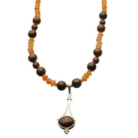 "Jasper Stone Sterling Silver Pendant Agate Stone Beads Necklace 16""+2"" Extender"