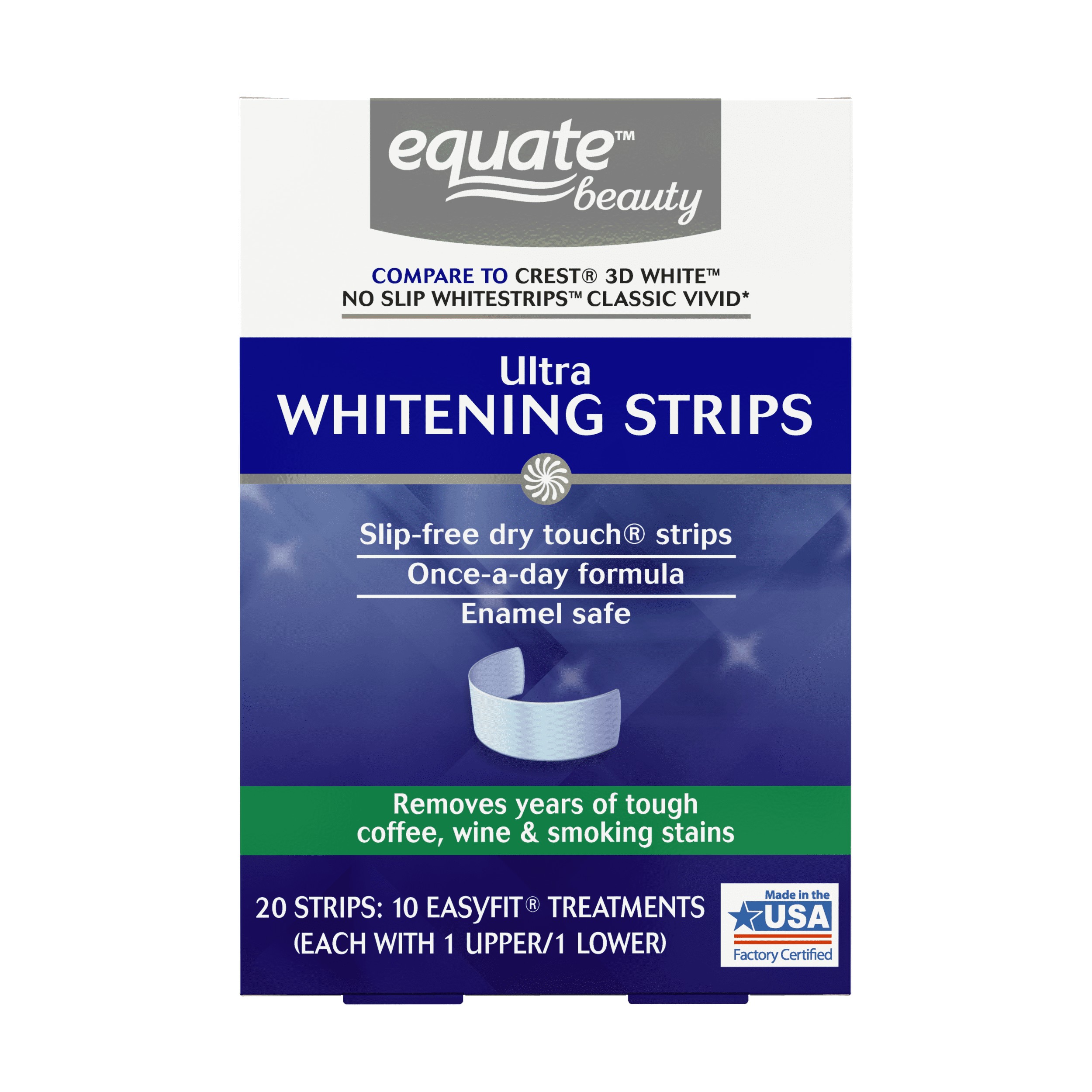 Equate Beauty Ultra Teeth Whitening Strips 10 Day Treatment Walmart Com Walmart Com