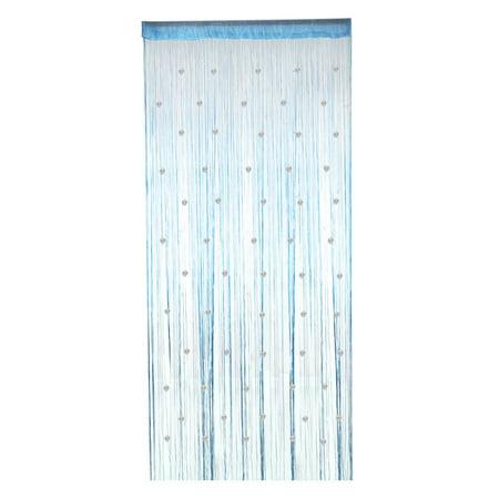 Window Door Polyester Beads Pendant Decor String Hangings Curtain Screen Blue