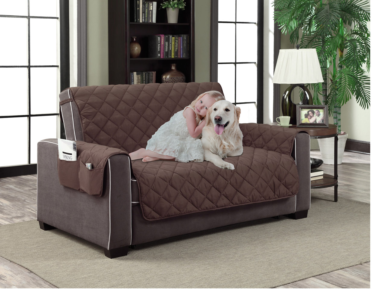 Home Dynamix Slipcovers: All Season Quilted Microfiber Pet Furniture Couch  Protector Cover   Brown