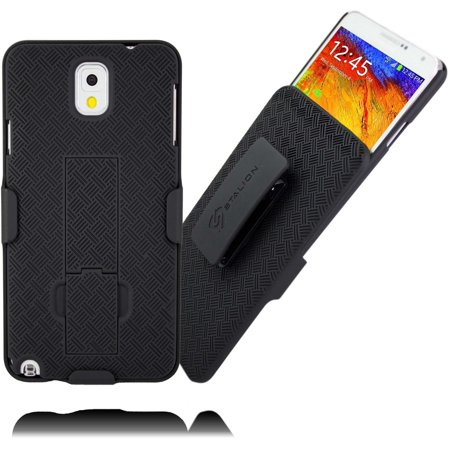 Galaxy Note 3 Holster Belt Clip Case: Stalion® Secure Shell & Kickstand Combo (Jet Black) 180° Degree Rotating Locking Swivel + Shockproof Protection (Not for Samsung Galaxy Note 3 Neo) (Samsung Note 3 Case For Belt)