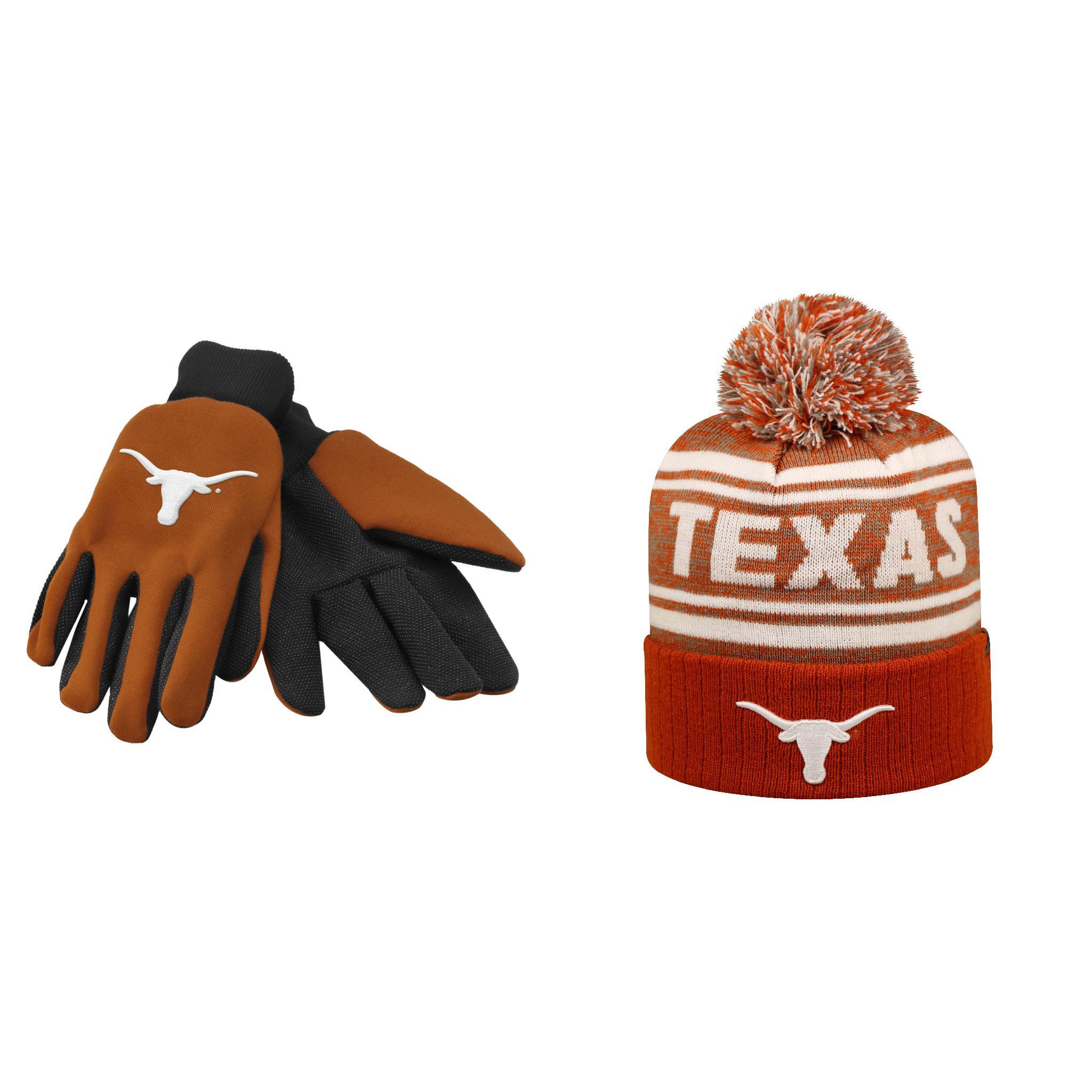 NCAA Texas Longhorns Driven Beanie Hat And Grip Work Glove 2 Pack Bundle