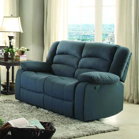Homelegance Greenville Double Reclining Loveseat In Blue