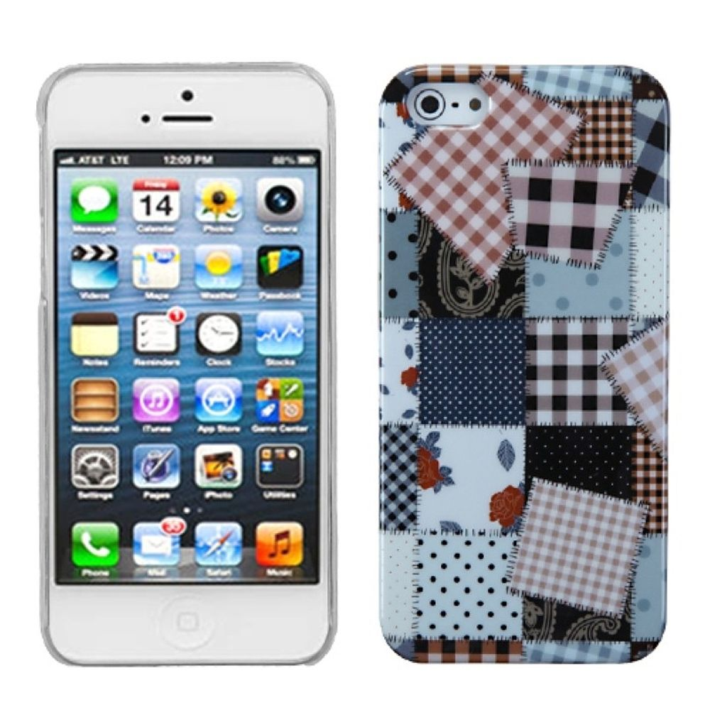 Insten Cloth Puzzle Hard Case For Apple iPhone 5/5S/SE /Clear