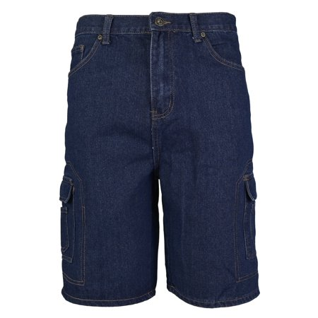 Men's Premium Cotton Multi Pocket Relaxed Fit Stonewash Denim Jean Cargo Shorts (Blue Indigo,30) Denim Five Pocket Shorts