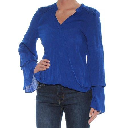 INC Womens Blue Petite Crepe Surplice Long Sleeve V Neck Faux Wrap Top Petites  Size: XS