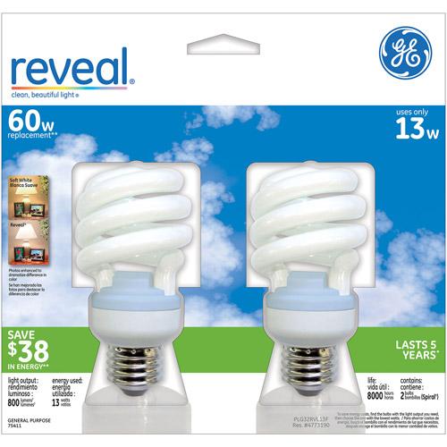 GE CFL Reveal Spiral 13wt - 6 Bulbs/ 3 Packs