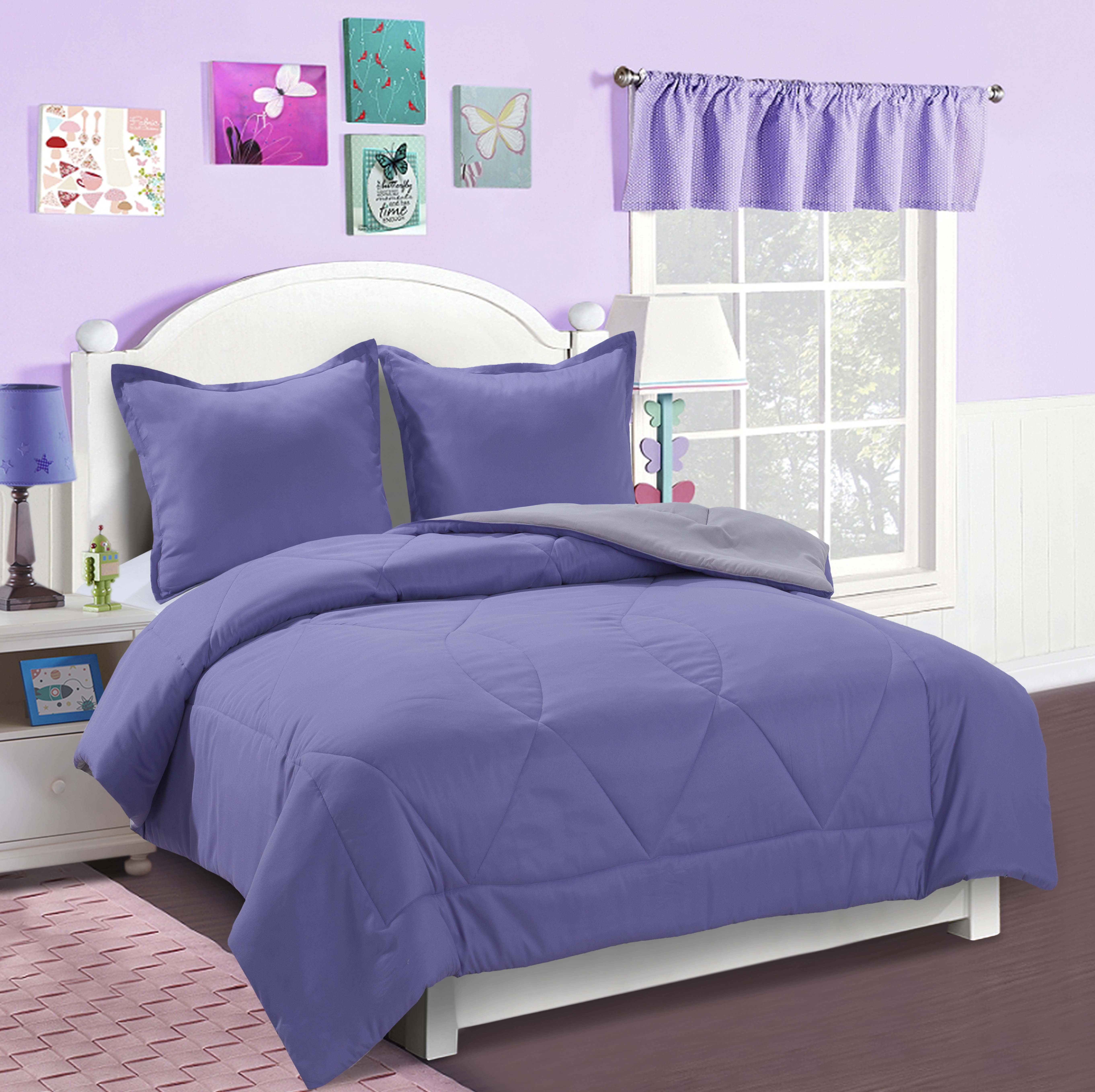 Mainstays Kids Solid Reversible Bedding Set by Jiangyin Shule Bedsheet Co.,Ltd