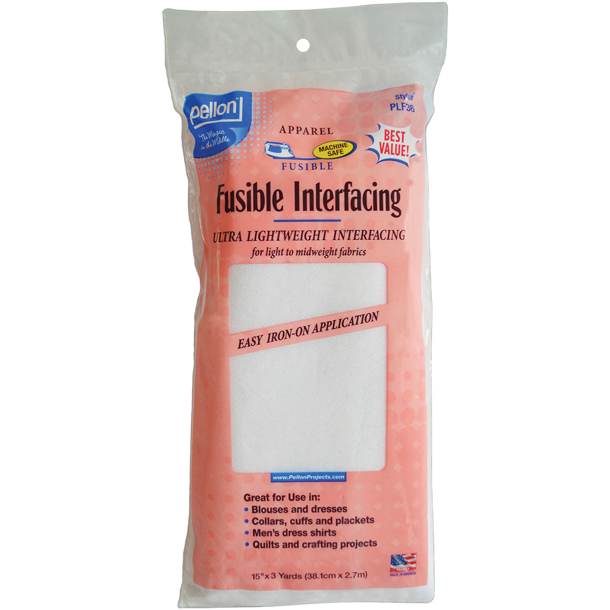 "Pellon PLF36 Fusible interfacing, White, 15"" x 3 Yards Packaged"