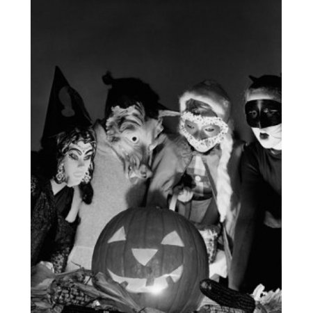 Four children wearing Halloween costumes looking at an illuminated jack o lantern Canvas Art -  (18 x 24)](Halloween 4 Ab 18)