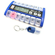 New MedQ Daily Pill Box Reminder with Flashing Light and Beeping Alarm includes Bonus Liberty Pill Keychain (Blue)