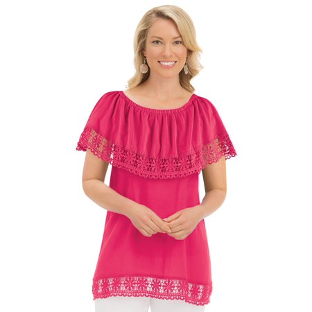 Women's Gauze Convertible Neckline Off Shoulder Tunic Top with Crochet Trim, Medium, Coral