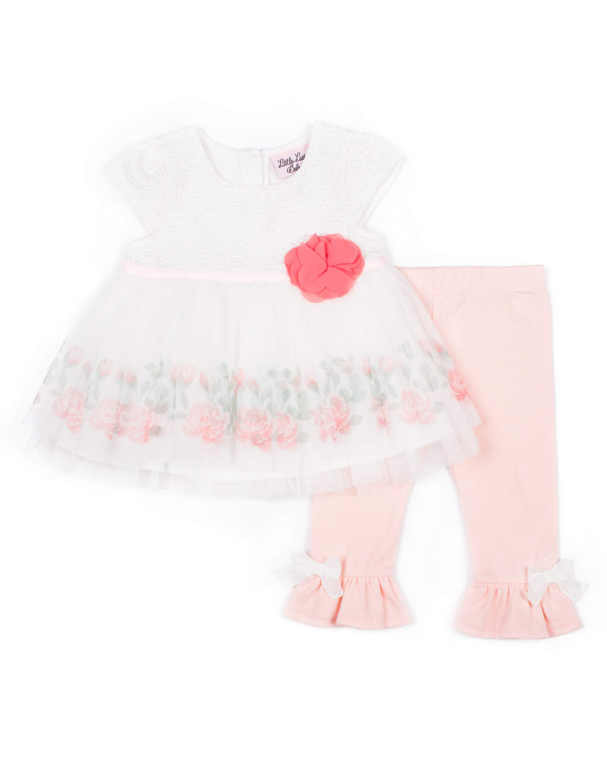 Foil Printed Tulle Dress & Capri, 2pc Outfit Set (Baby Girls & Toddler Girls)