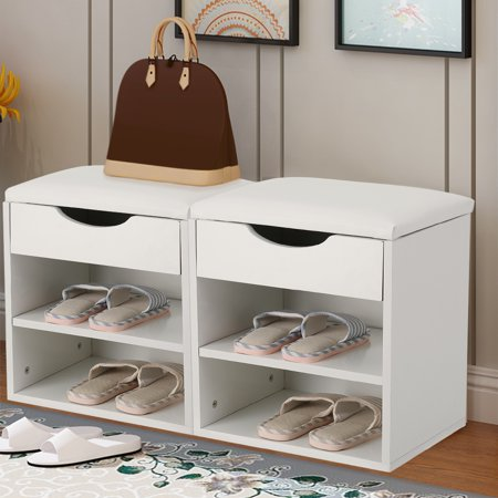 Shoe Organizer Wooden Bench, Estink Home Entryway Hallway Shoe Wooden Bench Padded Seat with Storage Cabinet(White) ()