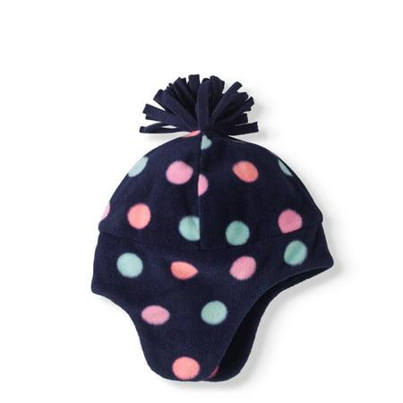 BABY TODDLER GIRLS FLEECE HATS BIG DOTS