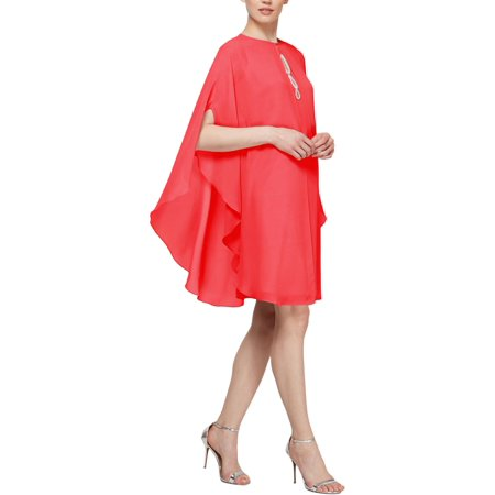 SLNY Womens 2PC Cocktail Capelet Dress