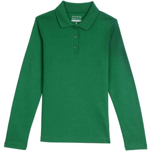 George Girls' School Uniform Long Sleeve Polo Shirt - Walmart.com