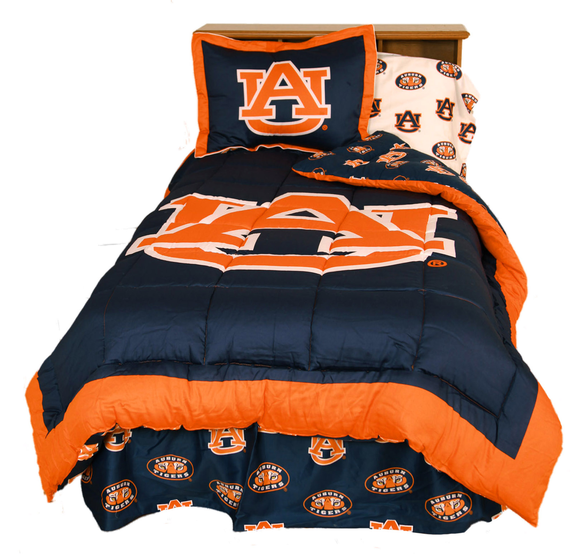 Auburn Tigers 2 Pc Comforter Set, 1 Comforter, 1 Sham, Twin