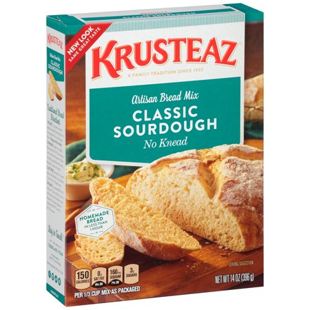 (2 Pack) Krusteaz No Knead Classic Sourdough Artisan Bread Mix, 14oz (Best Way To Store Sourdough Starter)