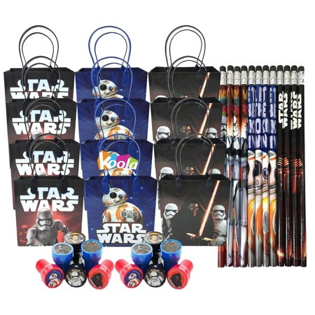 12 Sets Disney Star Wars Birthday Party Supply Favor Gift Bags Stamper Pencil