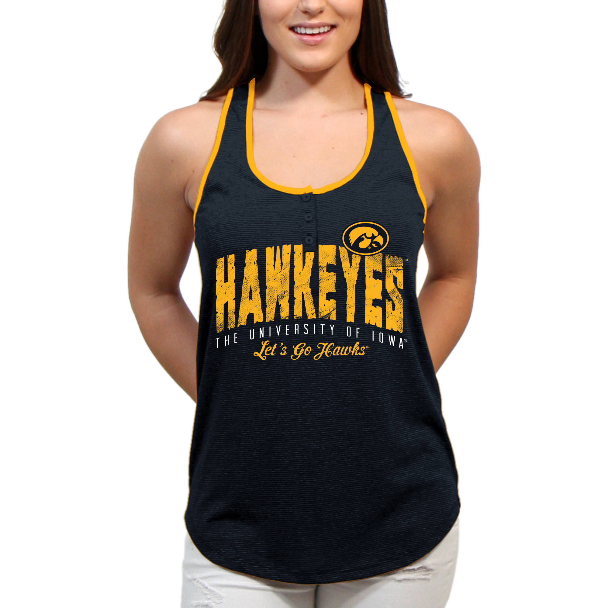 Iowa Hawkeyes Choppy Arch Women'S/Juniors Team Tank Top