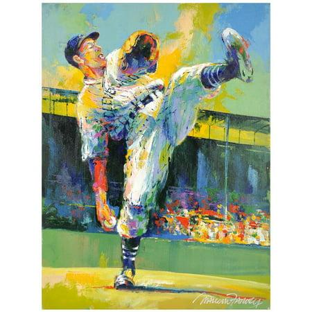 Bob Feller Cleveland Indians Original Artwork with Malcolm Farley Signature Bob Feller Signed Baseball