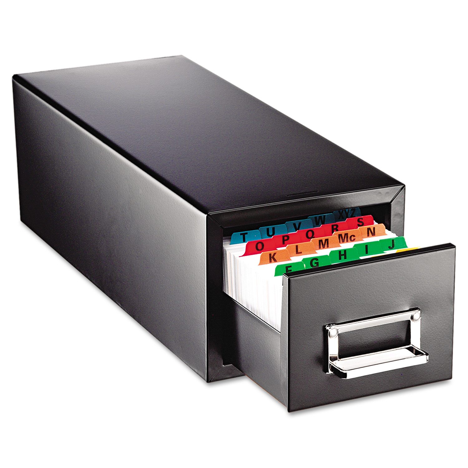 SteelMaster Drawer Card Cabinet Holds 1,500 5 x 8 cards, 9 7/16 x 16 x 7 1/2 -MMF263F5816SBLA