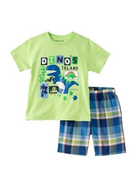 Kids Headquarters Infant Boy Dinosaur Island T-Rex T-Shirt Plaid Shorts Set