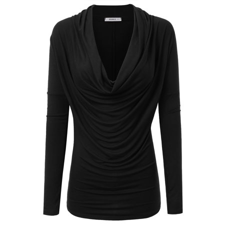 Doublju Womens Cowl Neck Long Sleeve Blouse Top With Plus Size BLACK - Womens Long Sleeve Black Tee