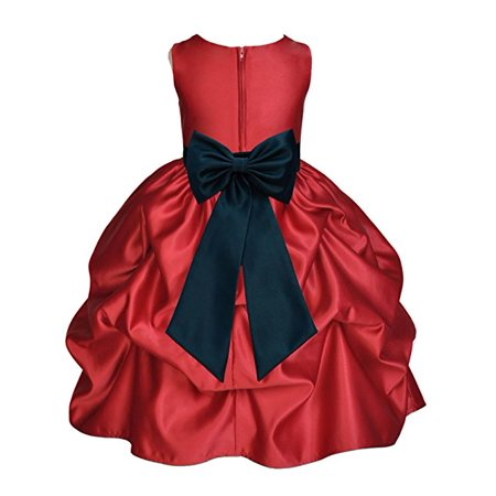 0440b2c5e3f6d Ekidsbridal Apple Red Satin Pick-Up Flower Girl Dress Toddler Girl Dresses  Junior Bridesmaid Dress Pageant Gown Birthday Girl Dress Communion Dress ...
