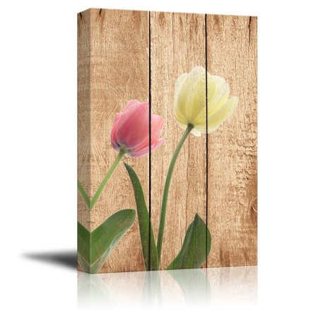 wall26 Pink and White Tulips Over Wood Panels - Nature - Canvas Art Home Decor - 24x36 inches