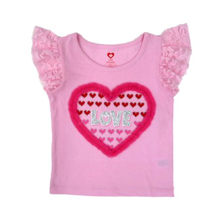 Toddler Girl Pink Lacy Heart Short Sleeved T-Shirt Glittery Valentine Top](Valentines For Girls)