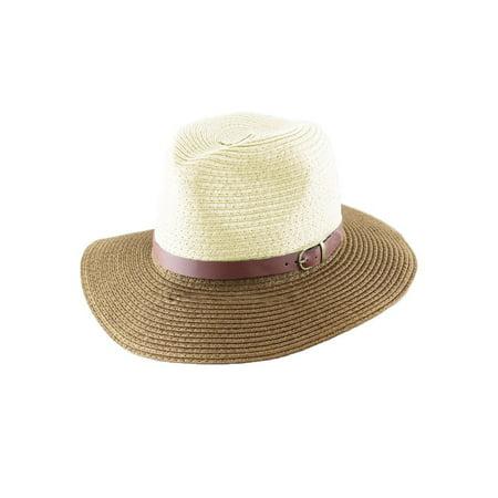 Korean Fashion Fedora Hat Leather Belt Color Block Panama Hat Beach Sun Straw Hat Unisex Blue&Coffee/Red&Blue/Beige&Khaki (Sun Valley Belts)
